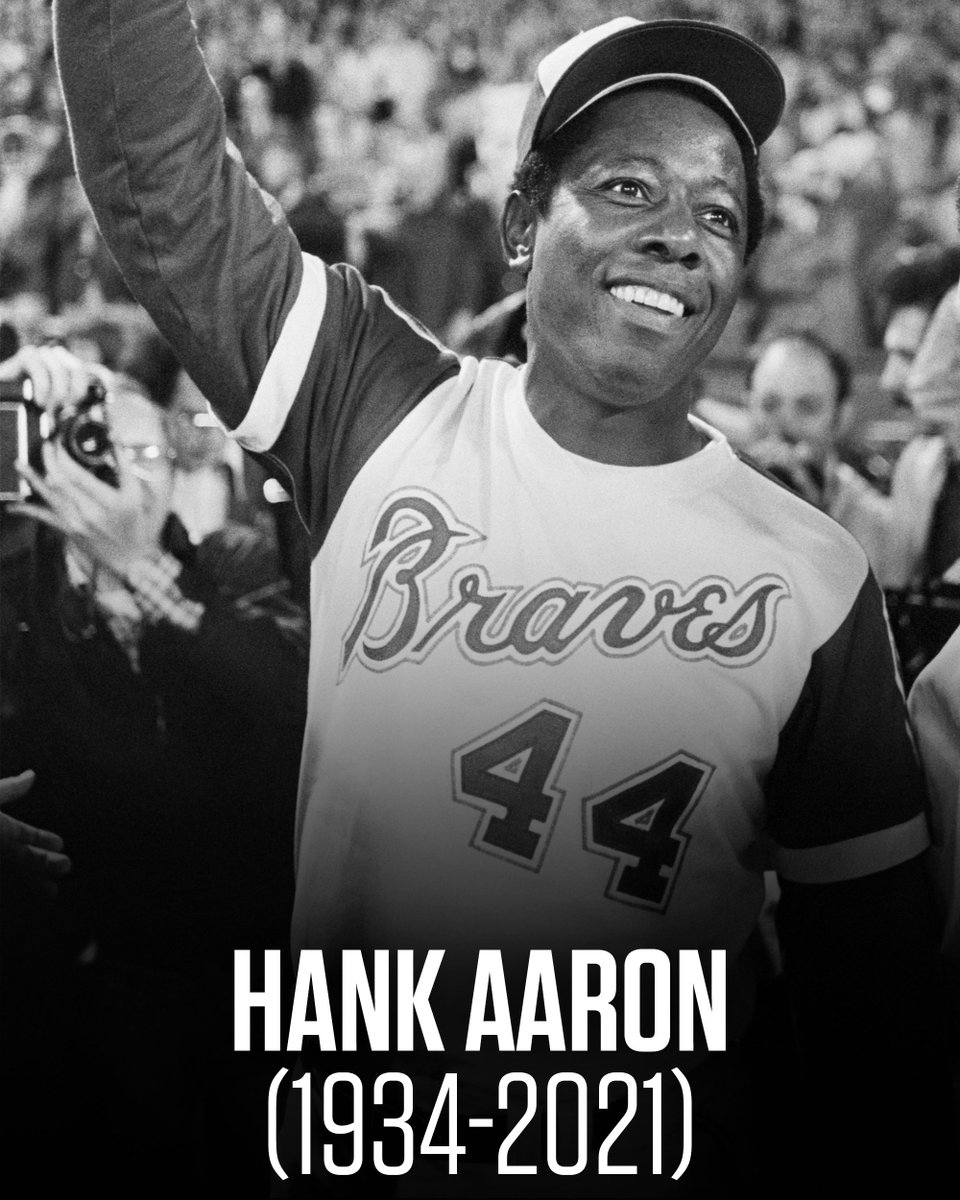 Replying to @NBCSports: Rest in peace to a legend.  Hammerin' Hank Aaron has died at the age of 86.