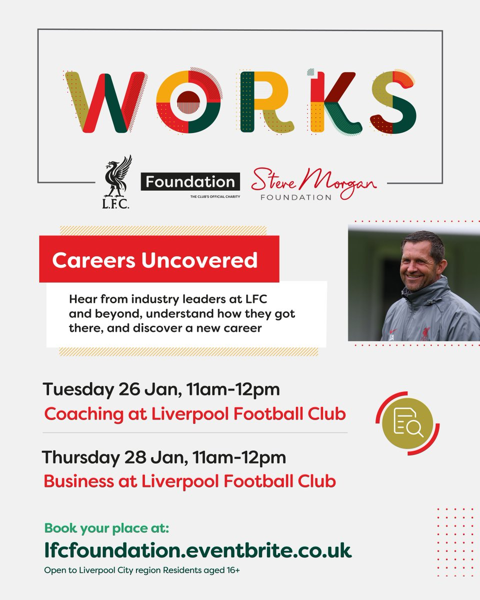 Join us for Works, Careers Uncovered!⚽️🔴  A series of virtual employability events, specialising in Coaching & Business.💻  Hear from industry leaders at @LFC & #LFCFoundation about their career journeys.  Book now:📲   Funded by @stevemorganfdn ❤️