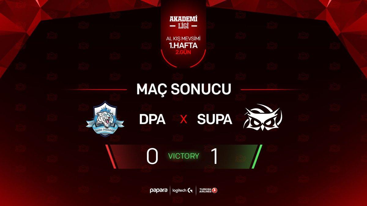 2021 Akademi Ligi, 1. hafta 2. gününde Dark Passage ekibini de mağlup ederek ilk haftayı 2'de 2 ile kapatıyoruz! 🥳🔥  Rakibimizi tebrik ederiz.  #SUPWIN🦉 #Papara #LogitechG #TurkishAirlines