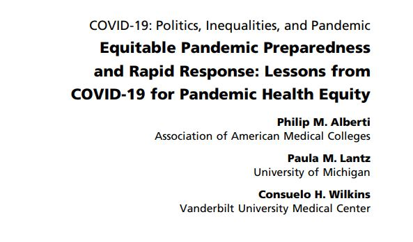 #Healthequity in pandemic preparedness requires:  Strong #publichealth infrastructure Material conditions of health for all Basic economic security Access to technology (school, work, etc.) Focus on congregate settings Public transportation  #SDOH #COVID19 https://t.co/PrdDuq4GSz https://t.co/ECDlm7lcqe