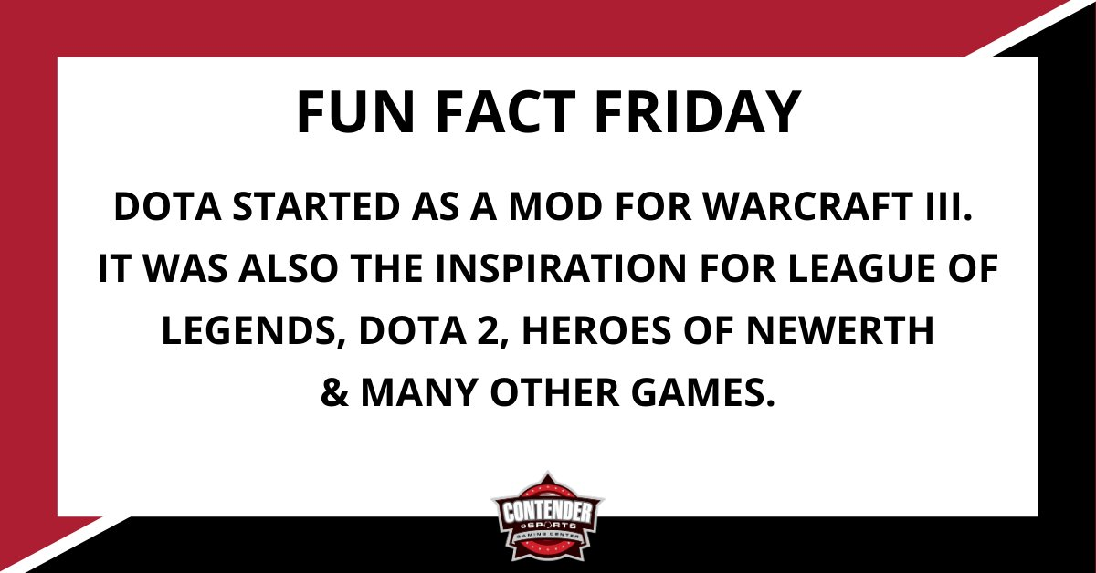 #FunFactFriday DOTA started as a MOD for Warcraft III. It was also the inspiration for League of Legends, DOTA 2, Heroes of Newerth & many other games.  #esports #fridayvibes #competivegaming #pcgamer #gamer #gamerlife #sgfmo #springfield #missouri #417local #TheMoreYouKnow