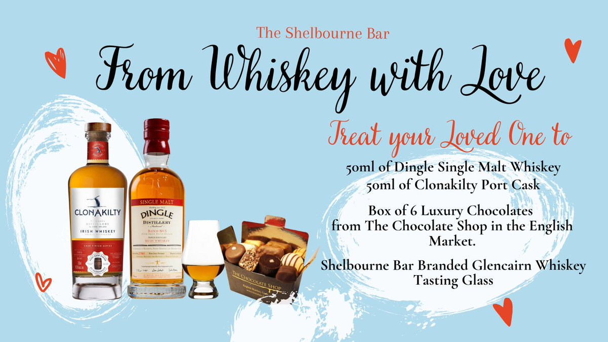 """Introducing """"From Whiskey with Love""""!  The brand new Irish Whiskey and Chocolate pairing gift box for Valentines Day from The Shelbourne Bar Cork. The perfect treat for your loved ones, or even just yourself 😉 Get yours now from our website"""