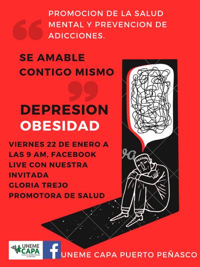 Hoy en punto de las 9:00 am al #Live Depresión y Obesidad, en el marco del Día Mundial de la Lucha contra la Depresión y semana Estatal Contra el Sobrepeso y la Obesidad. Con nuestra invitada Gloria Trejo, Promotora de Salud #CuidaTuSaludMental #saludmental #hablemosdedepresion https://t.co/m630bgR2P1