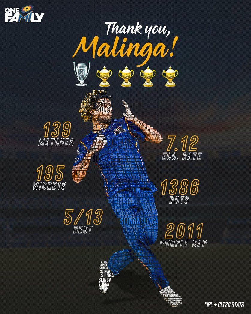 The IPL is losing his shining We miss you dear MALI THANK YOU SO MUCH MALI FOR MAKE OUR CHILDHOOD EVERGREEN ❤️❤️ #mipaltan #Malinga  #IPL  #MumbaiIndians