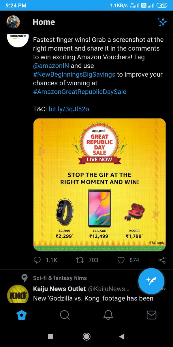 @amazonIN @amazonIN  #NewBeginningsBigSavings  My Perfect screenshot in my fastest finger. #AmazonGreatIndianFestival  #AmazonGreatRepublicDaySale