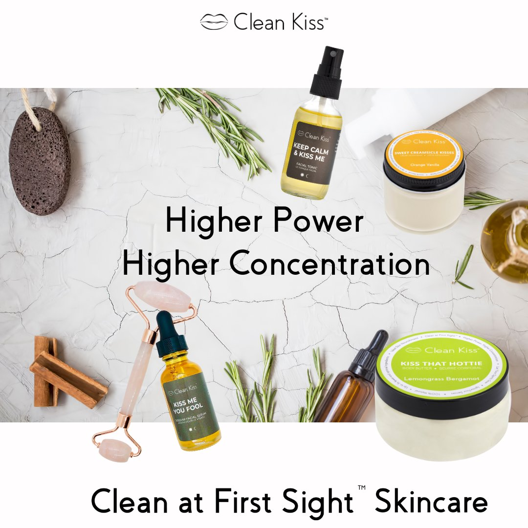 We have higher powered ingredients because of the higher concentration. In other words, with Clean Kiss you get 💋Clean at First Sight™ Skincare. 💋  #cleanskincare #cleanskincareproducts