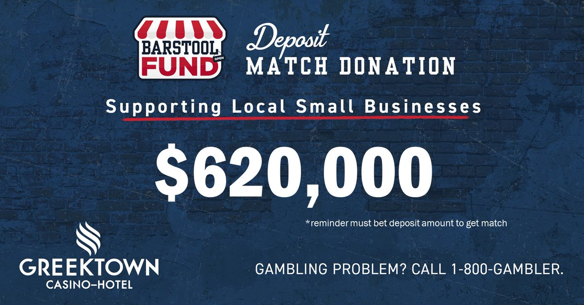 Attention Michigan: Already $620K in first-time deposits in the @bssportsbook app. Once these deposits are wagered, we're making a 100% match donation to #barstoolfund to help support Michigan small businesses.   We launch in 1 hour, Get ready Michigan.