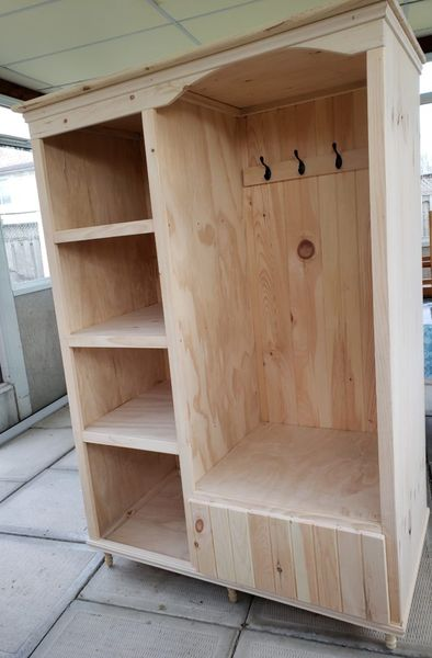 From our Readers Gallery: An entrance way organizer made by Kent Patterson from St. Catherines, ON. Check out more readers projects:  #Woodworking #Workshop #Furniture #DIY #HandMade #Make #Crafts #Home #Design #CanadianWoodworking #CWWmagazine