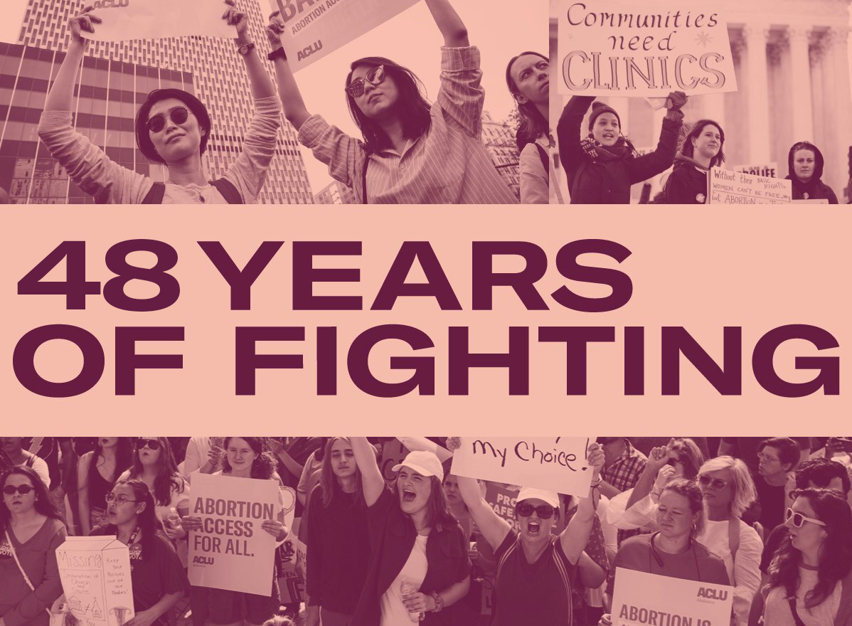 On this day in 1973, Roe v. Wade affirmed our constitutional right to abortion.   We'll never back down from the fight to uphold it  — and we won't stop there. Our work isn't done until everyone, no matter where you live or how much money you make, can access the care they need.