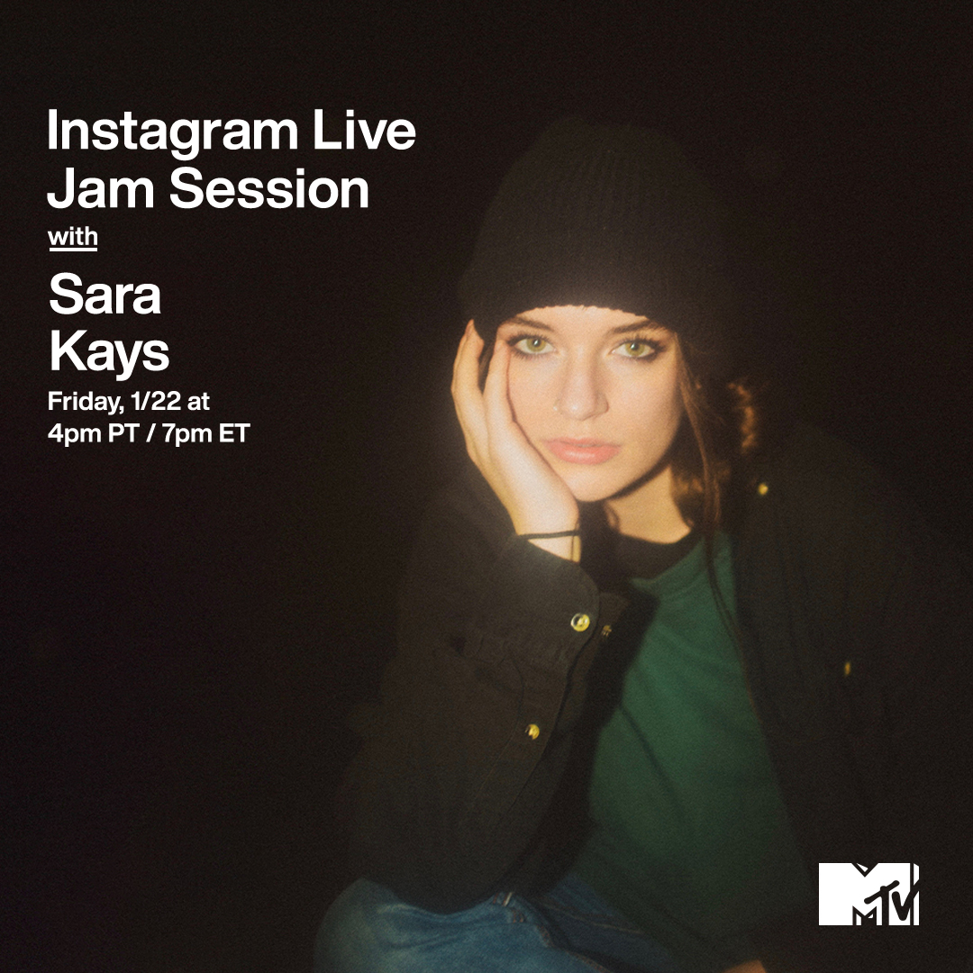 Kick it with @SaraKaysMusic during our #MTVJamSession TODAY at 4p PT / 7p ET on MTV's IG Live! ✨