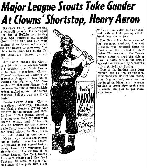 Here's 18-year old Henry Aaron  Chicago Defender 6/7/1952