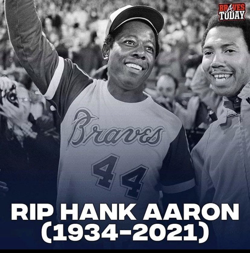 This truly breaks my heart. 💔 A @Braves Legend in every sense of the word and the true home run 👑 RIP my friend and thank you for all of the great memories.    #Legend #atlanta #braves #bravescountry #hankaaron #atlantabraves