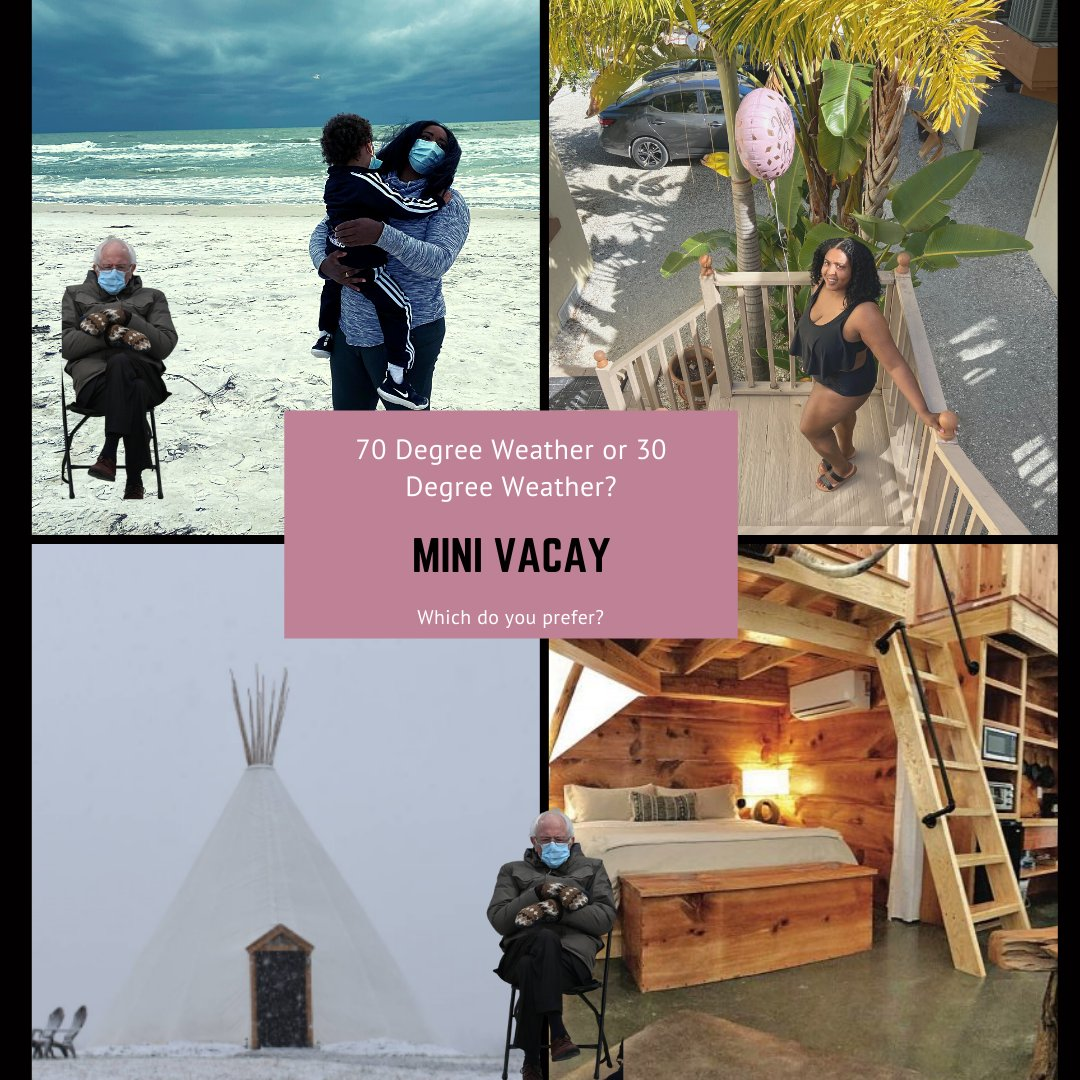 What type of weather do you prefer when planning a trip?   I prefer anything over 65 degrees.   #millennial #mother #motivator #beach #siestakey #cabins #safetravel #bundleup