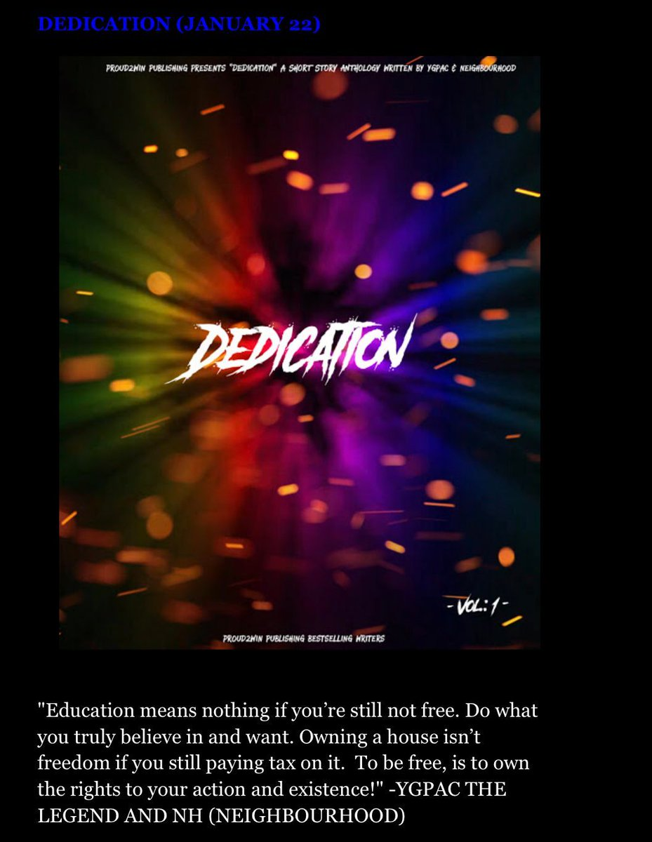 Your 🆕 great read! 📕  DEDICATION 🕯✍🏻  VIEW MORE #FREE here:   #FridayMotivation #FridayThoughts #fridaymorning #newhustler #FridayFeeling #FridayVibes #IndieBooksBeSeen #entrepreneurs #IARTG #WritingCommunity #SuccessStories #ygpacthelegend