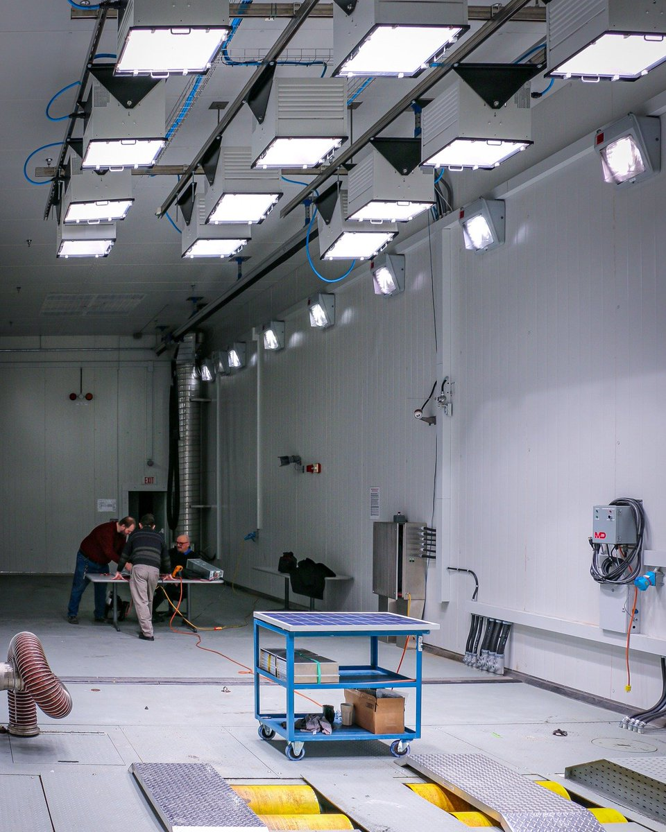 Solar panel research and testing occurring in the Large Climatic Chamber. Solar energy is a renewable and free energy source that can be converted into electricity using solar photovoltaic technology. #testing #research #solar #energy #renewable #engineering #technology #sun