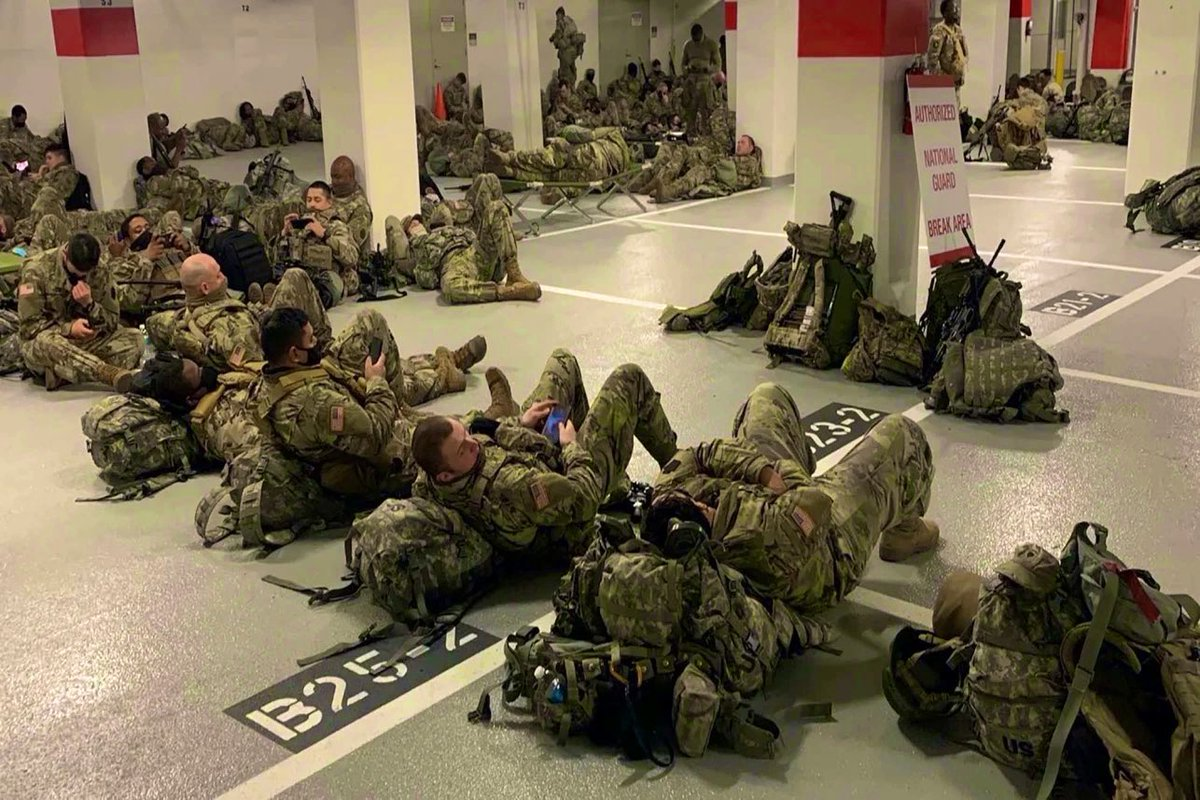 This is how Biden, Nancy and Schumer treat our troops. They order 27,000 Guardsmen to DC to protect them from the American people, then send them to sleep on the concrete floor of a car park. If you're not angry, check your pulse.