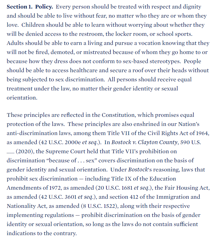 An interesting aspect of the upcoming fights over sex and gender ID is that the Biden administration seems to trying to stretch Bostock's reasoning (via Title VII) over situations in which the Justices explicitly deferred judgement. I think some people are overreacting to the EO