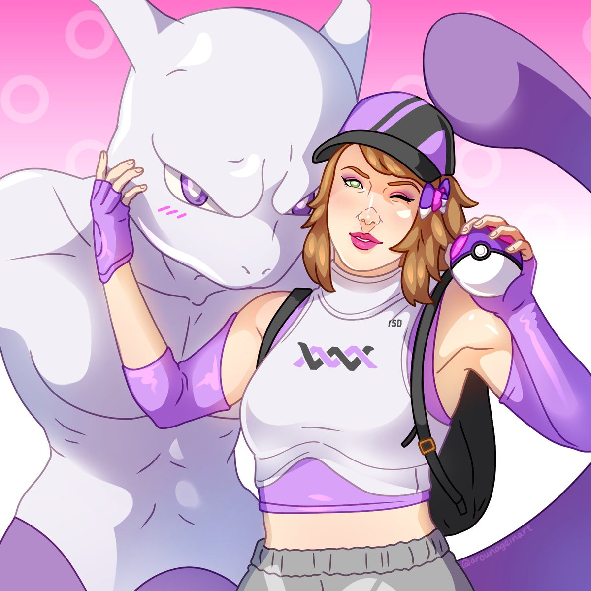 My dear friend @arounageinart made my dreams come true 😭💜 ever since I was a kid I've dreamed of being a Pokemon trainer and hanging out with my fave, the OG Legendary Mewtwo. Here's me in my Pokemon Go attire! Gotta coordinate with your buddy 💜 #Pokemon25 #PokemonGO
