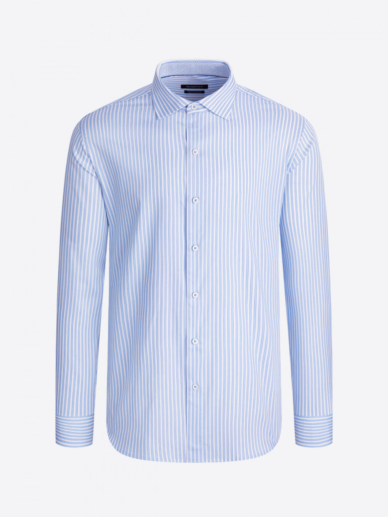 Long sleeve Candy Stripe cotton dress shirt with spread collar, French placket, adjustable notched cuffs, trim detail and a curved hem for a clean tuck or untuck look.  Special Price $103.20  #style #fashion #fashionista #ootd #menswear #shopping