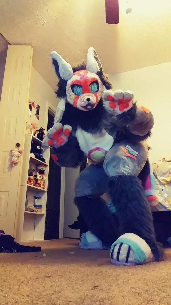 Flashes back to my first fursuit I made with limited resources and no experience prior 😳 #FursuitFriday