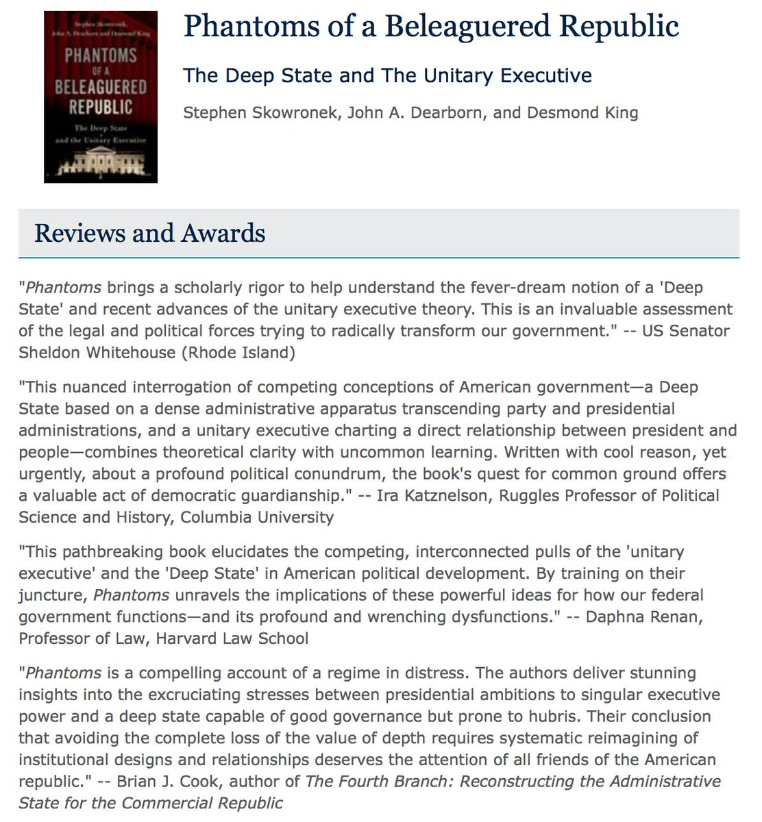 The @OUPPolitics webpage for Phantoms of a Beleaguered Republic now has book blurbs! Very grateful for these blurbs from @SenWhitehouse, Ira Katznelson, @DaphnaRenan, @Brian_J_Cook, @MargaretWeir4, Rogers Smith, @rudalev, Sidney Milkis, & @r_lieberman. tinyurl.com/PhantomsOxford…