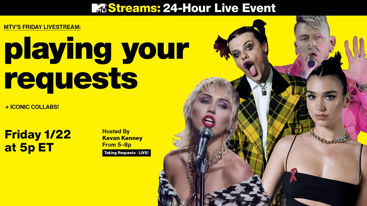 It's time for this week's #FridayLivestream! ⏰   Head to MTV's YouTube for special appearances from @yungblud, @harryhudson and @brynnelliott: