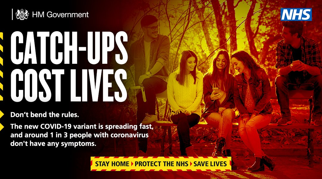 Around 1 in 3 people with #Covid19 do not show any symptoms, but can still pass it on.  This new strain is spreading fast and we all have a responsibility to prevent this spread.  Protect your friends, protect your family and protect London by staying at home.