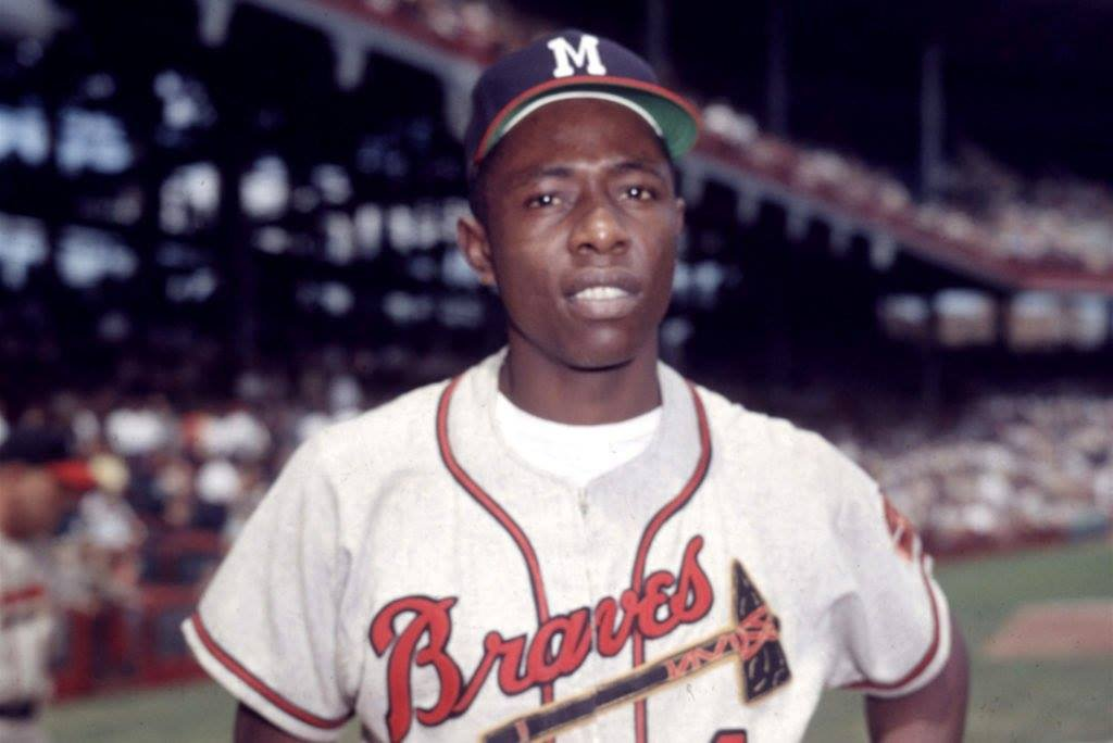 Pour one out for Hammerin' Hank. Since I don't recognize the Steroid Era, he's the career home run king.  And no, I'm not showing him in an Atlanta uniform.