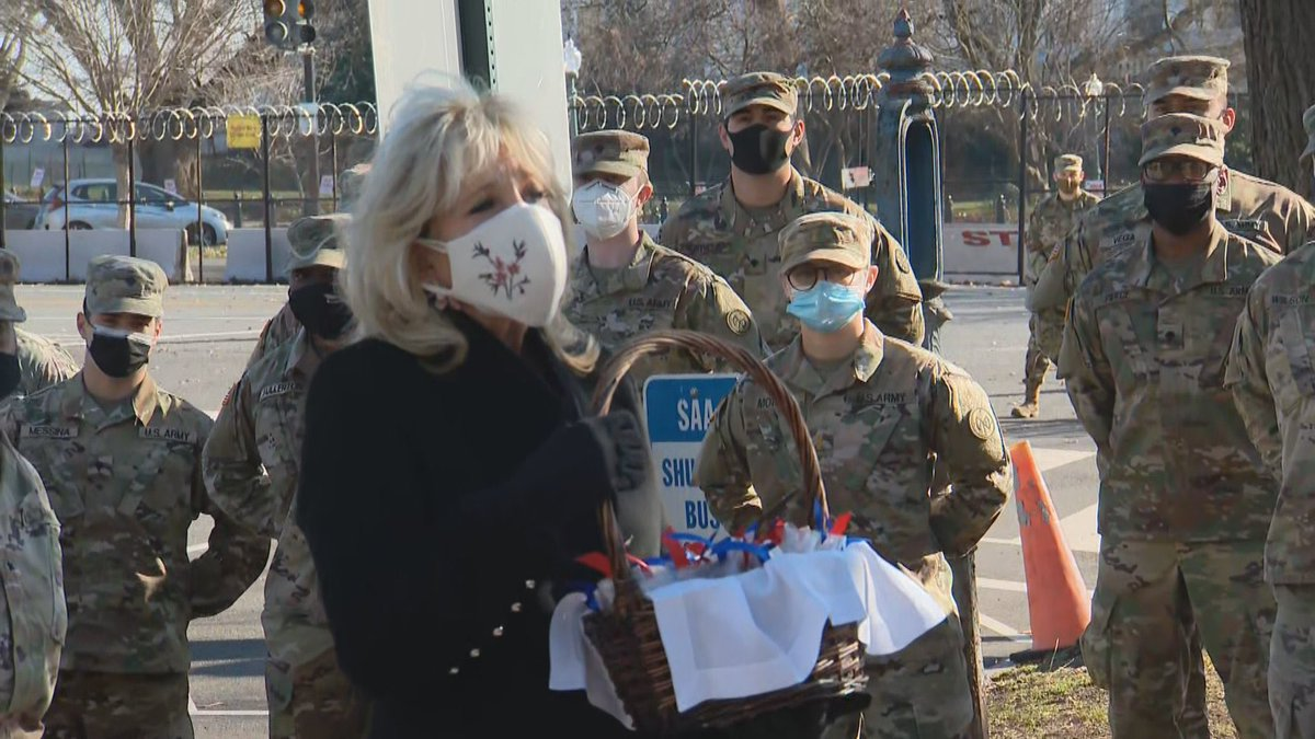 Jill Biden thinks giving the National Guard candy like it's Halloween or something will make up for her husband sending them off to sleep in parking garages.