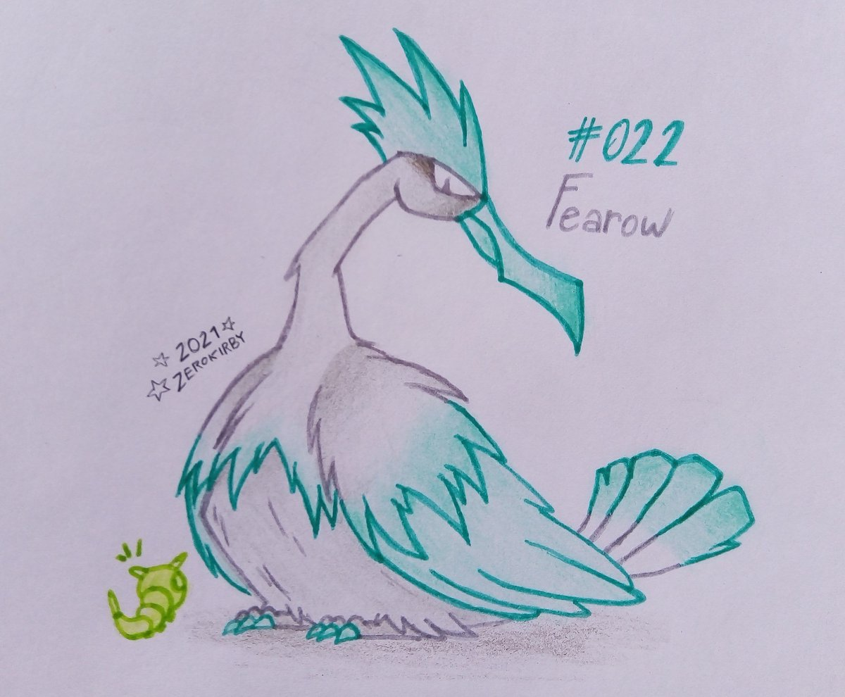 Day 22 of the #ZeroDex   #022 - Fearow [Normal/Flying]  Easily recognized by their long necks and skinny beaks. They are excellent at catching prey that hides under moist soil or water.  #pokemon #fearow #pokemonart #fanart #traditionalart #art #Pokemon25