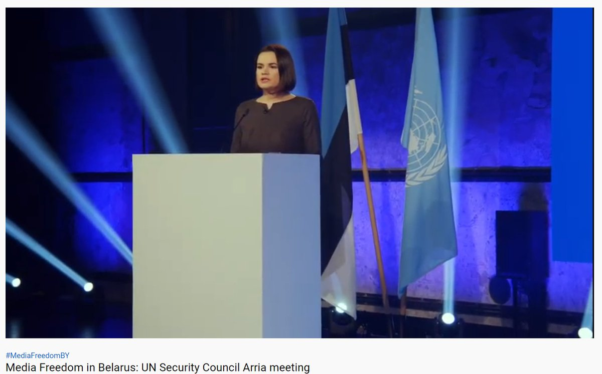 "Sviatlana @Tsihanouskaya speaking at #UN Security Council #Arria meeting:  ""I call on the UN to  _take a vocal stand to stop the violence & lawlessness in Belarus _convene a meeting of Security Council on Belarus _to support recommendations of the OSCE Moscow mechanism report."""