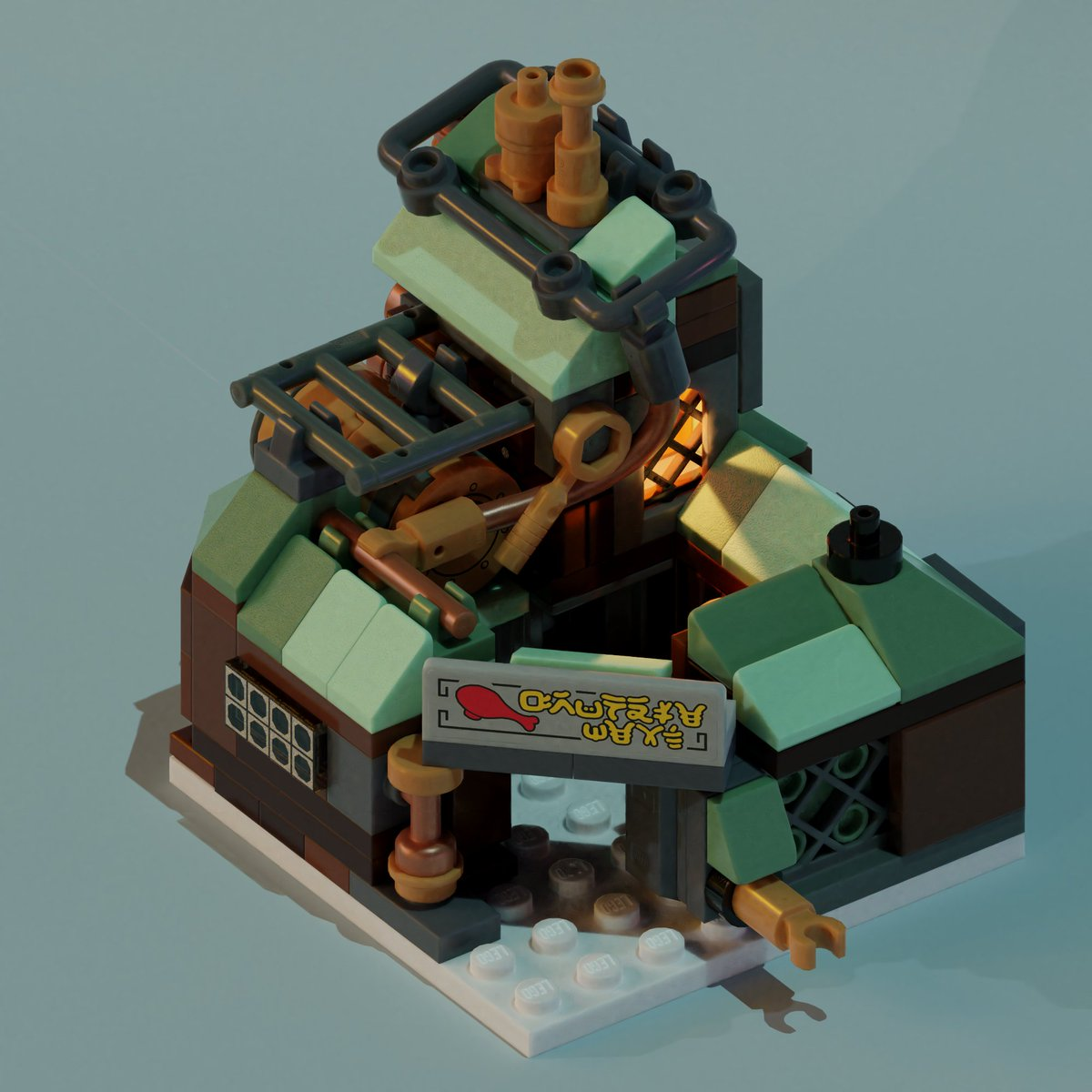 @drangir  suggested change to roof color to be more in line with game. I think it looks pretty fine in both variants :) I also added some piping to cookhouse. #frostpunk #steampunk #LEGO #AFOL #MyOwnCreation #scifiart #scifiart