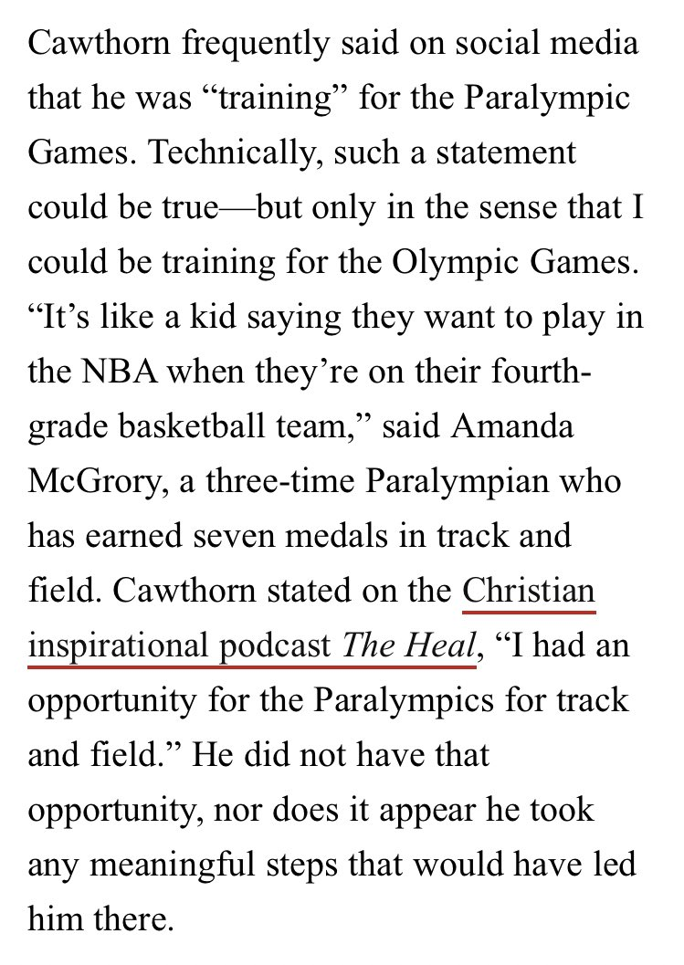 """Ok this piece on how all the real Paralympians mock  @CawthornforNC's weird lying about """"training for the Paralympics"""" is hilarious and has more than anything made me excited to watch the Paralympics"""