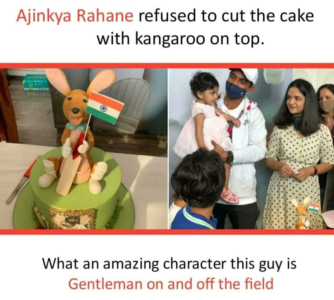 He is (@ajinkyarahane88) what a gentleman and a great human being. Salute you sir🙏🙏#teamindia #INDvsAUS