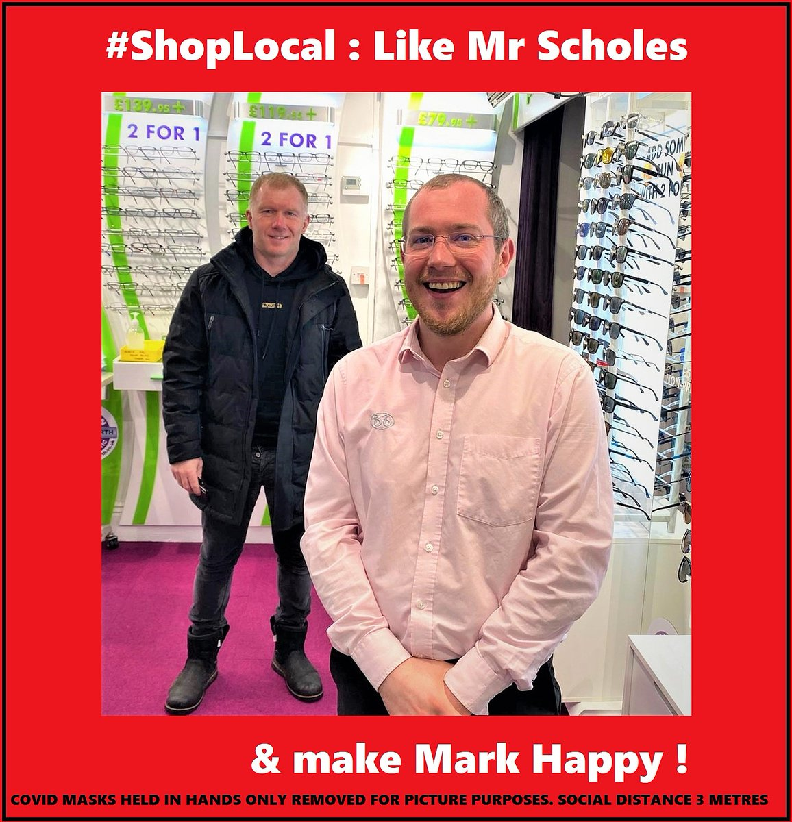 Grasscroft Resident, Mr Paul Scholes, decided to #shoplocal. We want to thank Paul for chosing from our Italian Designer ranges &  Zeiss Drivesafe Lenses  01457 87 2020 #paulscholes #manchester #manutd #saddleworth #uppermill #grasscroft #oldhamhour #specs