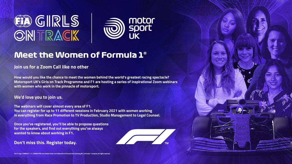 Exciting News! We have been working with F1 to bring you a series of 11 inspirational webinars in February with women who work in the pinnacle of motorsport. You can register your interest here: https://t.co/3OeOMdt8QK https://t.co/XoLthK6z09