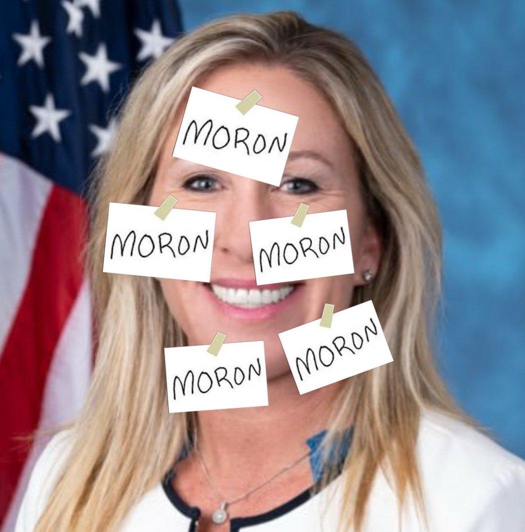 @RepMTG @JoeBiden When the Post-it fits   #ConvictTrump  #GreeneResignNow  #MoronResign   #RepConspiracyTheories