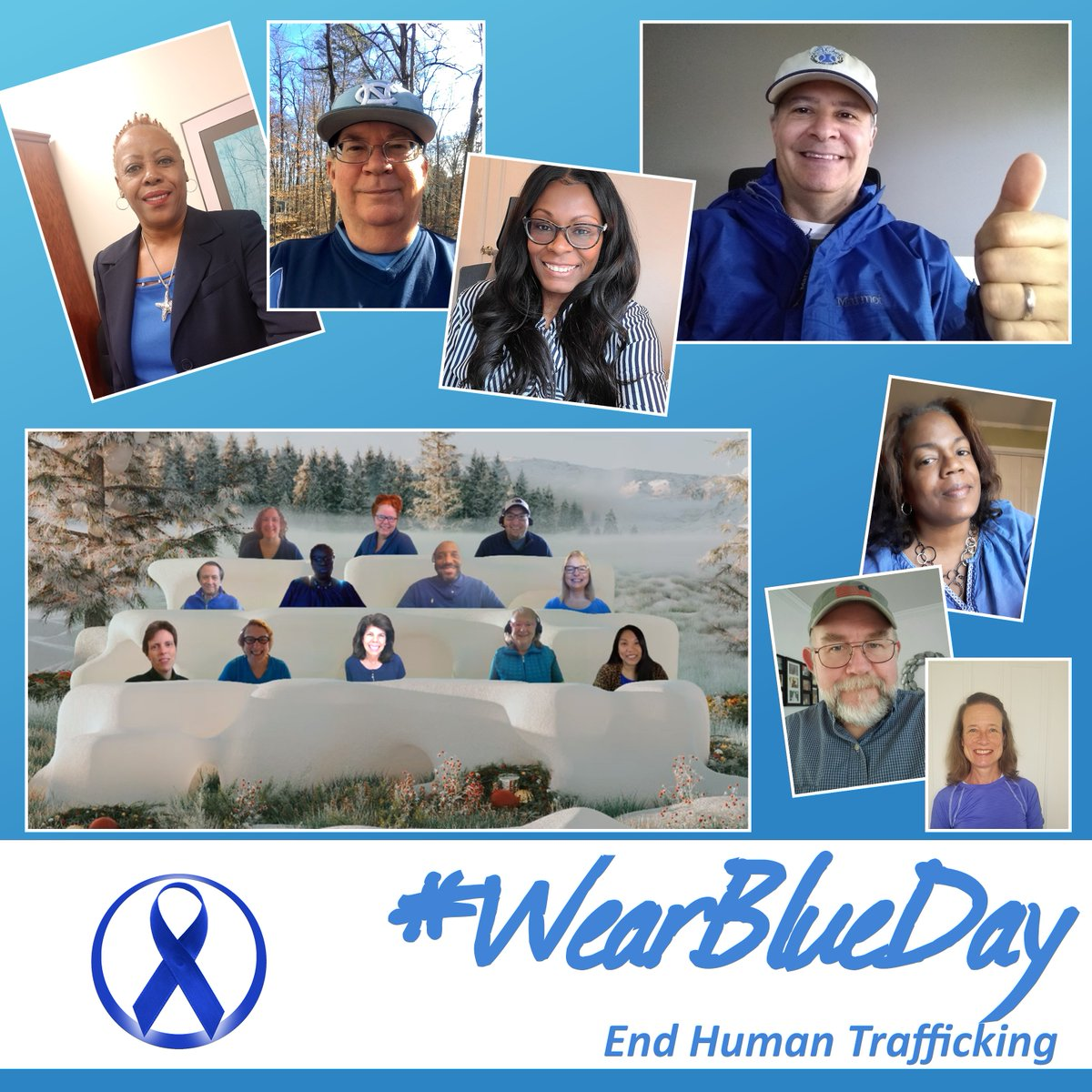 Today, OSHR staff donned their different shades of blue for #WearBlueDay in recognition of #HumanTraffickingAwarenessMonth. It's time to #EndHumanTrafficking @CouncilNC
