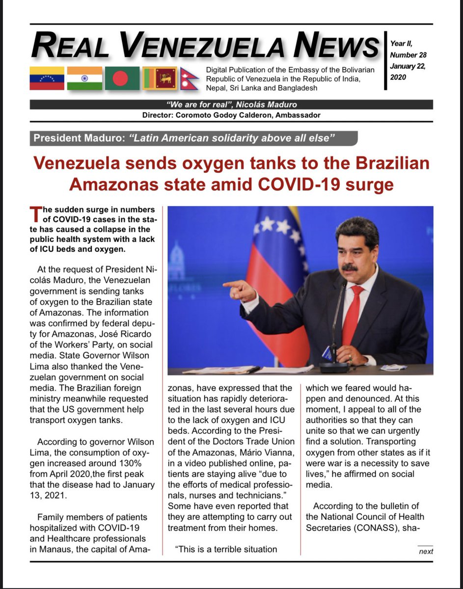 🗞🇻🇪🇮🇳🇳🇵🇱🇰 🇧🇩  Real Venezuela News Digital Publication of the Embassy of the Bolivarian Republic of Venezuela in the Republic of India, Nepal, Sri Lanka and Bangladesh. Number 28, January, 22, 2021. Download, read and share HERE ➡️ https://t.co/HMcA4WZAsh https://t.co/7lzre2f5Wv