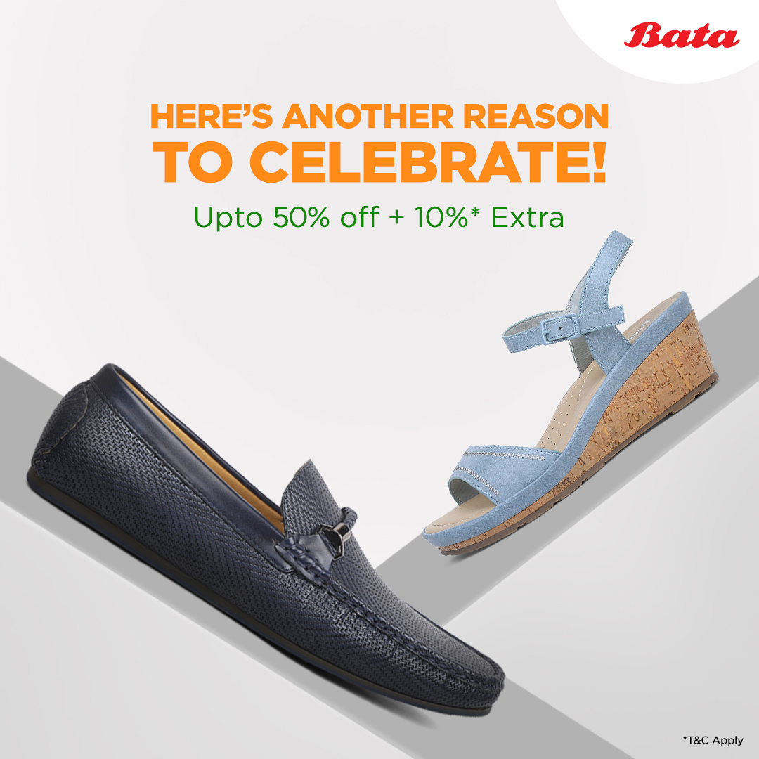 This is an offer you just can't miss! Avail an additional 10% discount* along with the 50% off in our #EndOfSeasonSale. Visit your nearest Bata store before it's too late. #Eoss #LatestStyles #shopnow . . *applicable only in select Bata stores, from 22nd-26th Jan 2020. T&C apply.