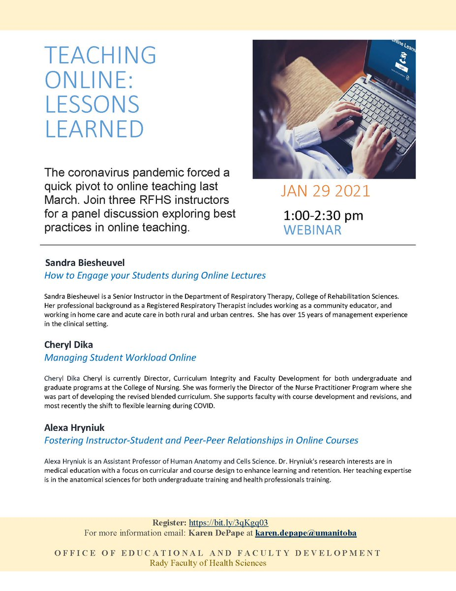 Join 3 @UM_RadyFHS instructors for a panel discussion on lessons learned from our quick #pivot to #onlineteaching. Pleased to welcome Sandra Biesheuvel, Cheryl Dika and Alexa Hryniuk for this timely discussion. #facdev