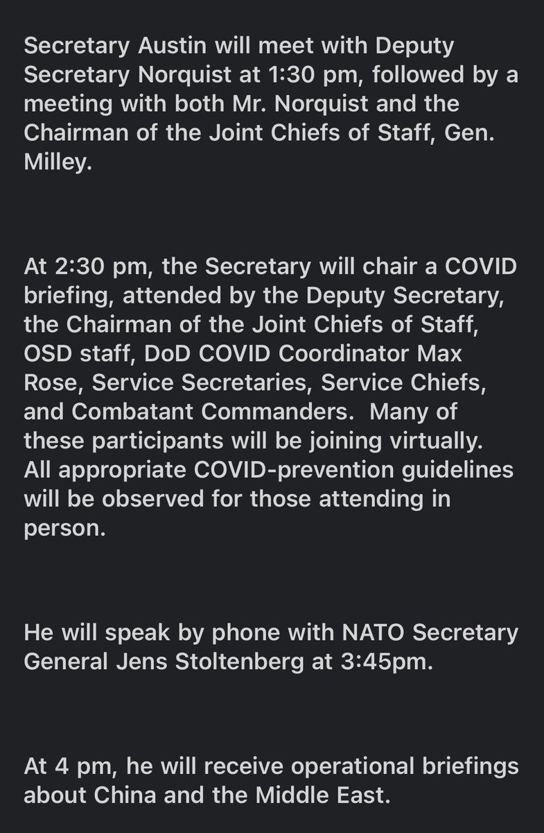 Newly minted SECDEF Austin dropping into the Pentagon at noon today & then he's got a full slate of meetings. First phone call? NATO SECGEN @jensstoltenberg. https://t.co/2v77Yebjhh