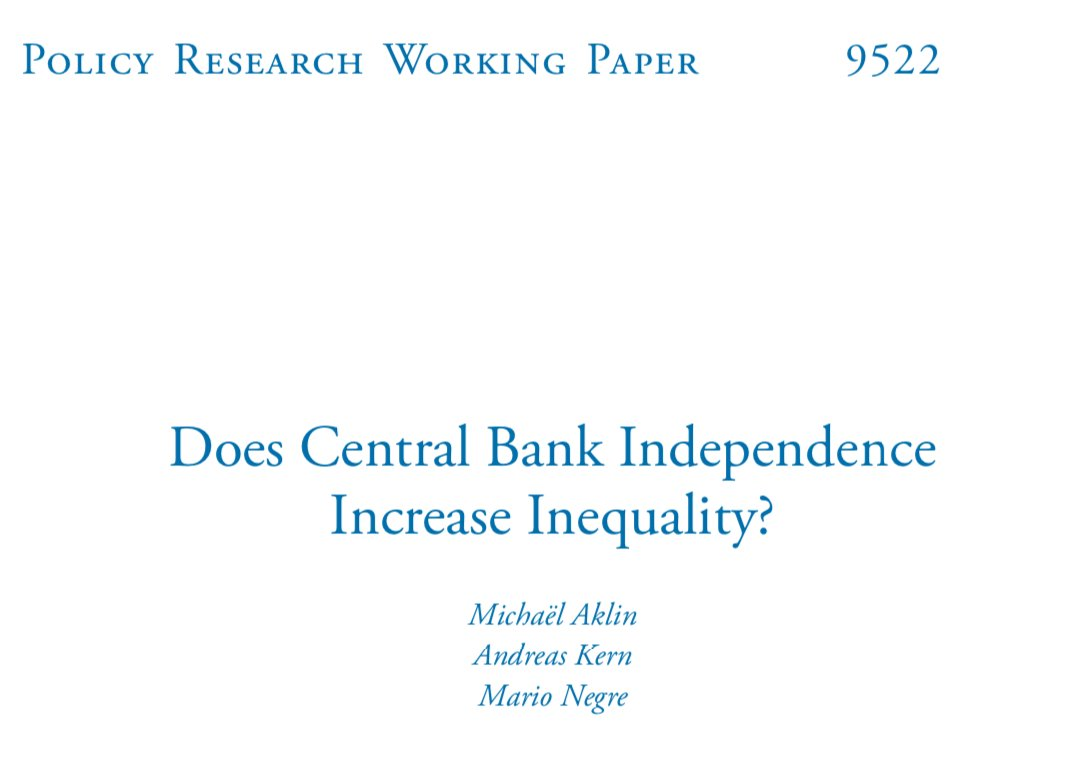 So while Ecuador is facing IMF pressure for more central bank independence, the World Bank (🤔) just put out a path-breaking new paper by @atkern et al. that finds a strong and remarkably monotonic effect of CBI on income inequality. documents1.worldbank.org/curated/en/422…