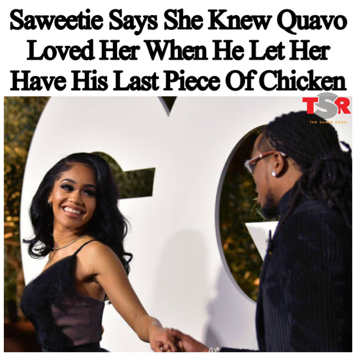 """Saweetie said, """"The moment I realized that Quavo really loved me is when he saved me some of his food,"""" according to @PageSix. (📸:@gettyimages)"""