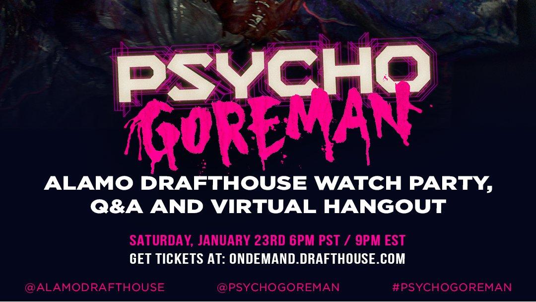 Don't miss the PG: #PsychoGoreman Watch Party + Q&A 𝗧𝗢𝗡𝗜𝗚𝗛𝗧 🎟️s: https://t.co/J3lyaY7Pe0 https://t.co/0FCksnEX0c