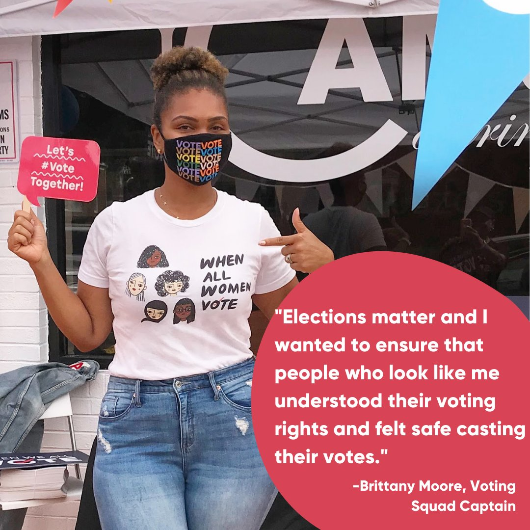 In 2020, #VotingSquad Captain Brittany Moore partnered with local restaurants and food trucks to help get her community #RegisteredAndReady to vote!  Community leaders like Brittany power our movement, and we're excited to continue working alongside our incredible volunteers. ✨
