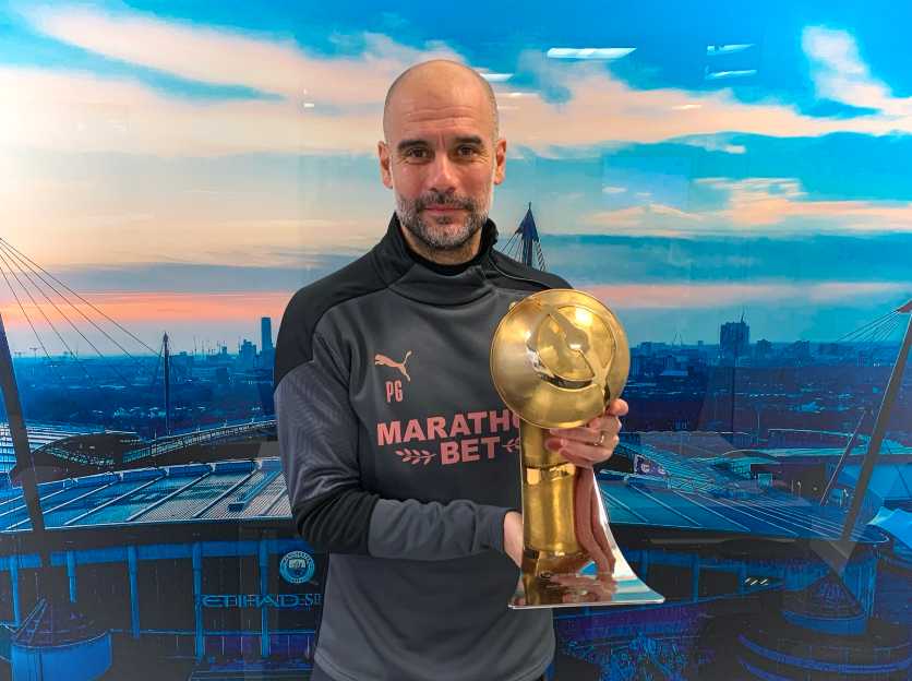 """✍️ One word or emoji to describe Guardiola  📸 Manchester City manager Josep """"Pep"""" Guardiola awarded with the 'Coach of the Century 2001-2020' Globe Soccer Award"""