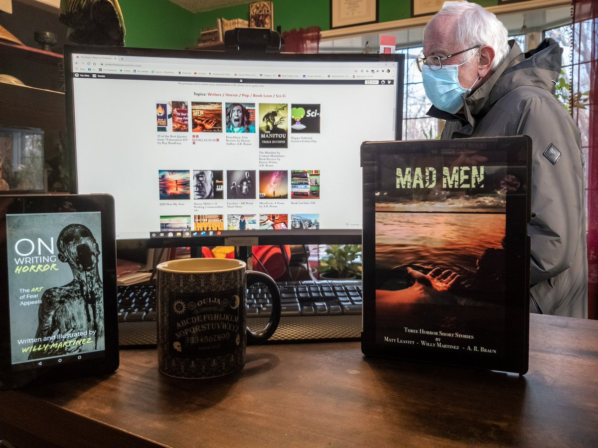 """Bernie stopped by this morning for a coffee and asked about our new book release """"Mad Men"""" and about all of the blog content we post. He couldn't stay long, he had to get to the post office😄😁 #coffee #berniesMittens #berniememes #BernieSanders #bernie #horror #fridaymorning"""