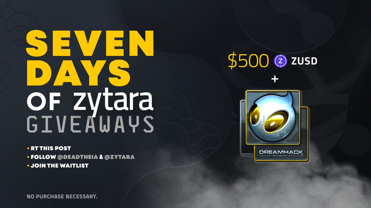 """#SevenDaysofZytara - Day Five!  Today I'm hosting DAY 5 of @dignitas x @zytarahq """"7 Days of Zytara Giveaways!""""  Enter below for your chance to win a DIG 2014 DreamHack sticker AND $500 $ZUSD stablecoin! 😱"""
