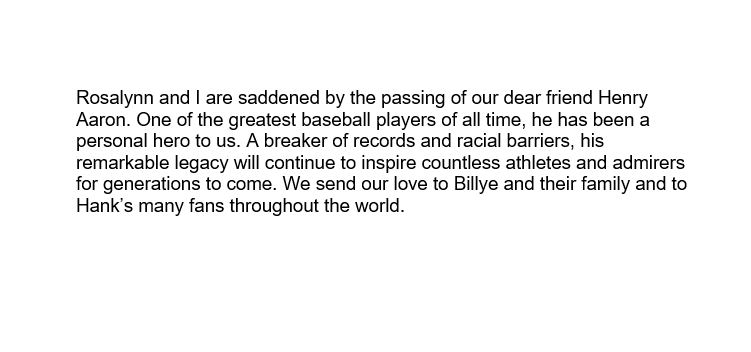 Replying to @CarterCenter: STATEMENT FROM FORMER U.S. PRESIDENT JIMMY CARTER ON THE PASSING OF HANK AARON
